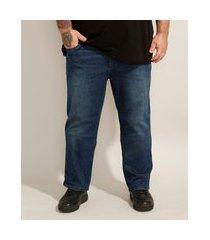 calça reta jeans plus size azul escuro