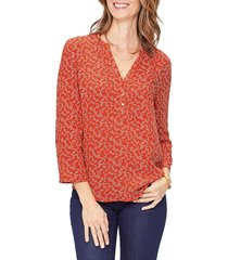 not your daughter's jeans women's print henley top - red - size xxs