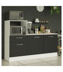 balcão madesa onix 180 cm 3 portas 1 gaveta e nicho para forno branco/preto cor:branco/preto