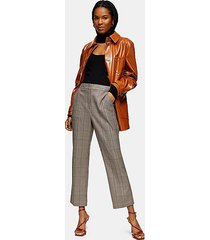 brown check kick flare pants - brown