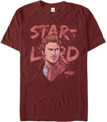 marvel men's guardians of the galaxy vol. 2 painted distressed star lord short sleeve t-shirt