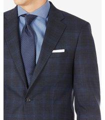 calvin klein men's infinite stretch navy windowpane wool suit separate jacket