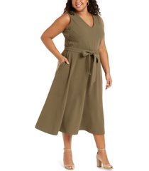 calvin klein plus size side-button a-line dress