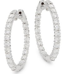 14k white gold & 2 tcw diamond hoop clip-on earrings