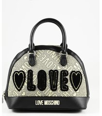 love moschino designer handbags, black eco leather & gold lurex fabric bowler bag