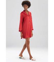natori feather satin essentials notch collar sleepshirt pajamas, women's, red, size l natori