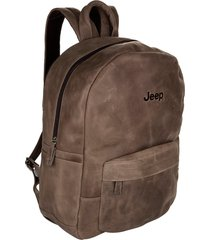 mochila de couro jeep all day use crazy horse capuccino