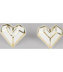 kolczyki z porcelany origami serce biało-złote