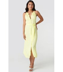 trendyol binding detail midi dress - yellow