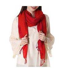 wool shawl, 'cherry web' (india)