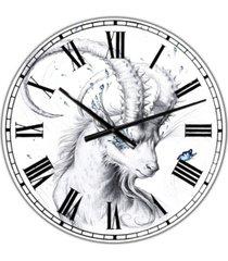 "designart hand drawn blue capricorn large cottage wall clock - 36"" x 28"" x 1"""