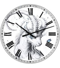 "designart hand drawn blue capricorn large cottage wall clock - 36"" x 28"" x 1"""