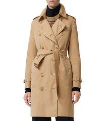 women's burberry the kensington heritage trench coat, size 12 - brown