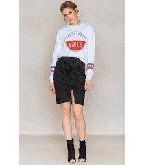 na-kd boho mid length frill skirt - black
