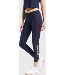 calza reebok cl f linear legging azul - calce ajustado