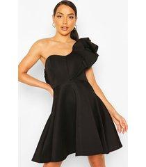 double ruffle one shoulder skater dress, black