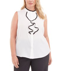 calvin klein plus size piped ruffled blouse