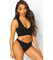 petite rib high leg bikini brief, black