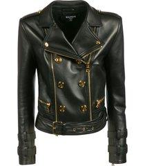 balmain double-breasted biker jacket