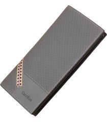 billetera, larga multifunción de tela escocesa con-gris
