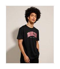 """camiseta de algodão brooklyn"""" manga curta gola careca preta"""""""