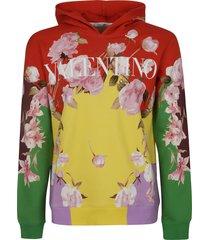 valentino floral logo print hoodie
