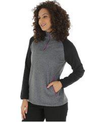 blusa de frio fleece nord outdoor bicolor - feminina - cinza esc mescla