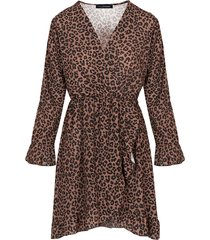 jurk met overslag panter cognac
