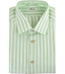 man linen shirt with white and green stripes