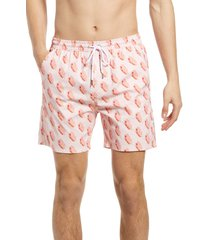 men's public art ice cream print swim trunks, size xx-large - pink