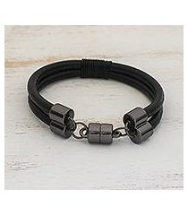 leather wristband bracelet, 'graphite elegance' (brazil)