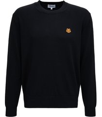kenzo black wool sweater with tiger patch