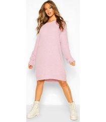 soft touch crew neck mini sweater dress, lilac