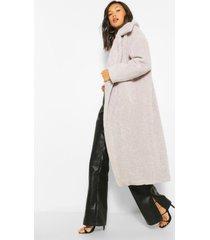 luxe getextuurde faux fur oversized maxi teddy jas, grey