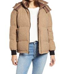 women's pendleton oak brook wool blend down bomber jacket, size large - beige