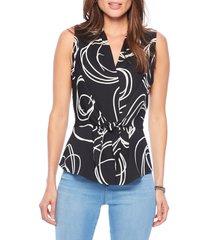 women's nic+zoe abstract print tie front tank, size x-large - metallic