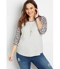 maurices plus size womens 24/7 gray floral puff sleeve baseball tee