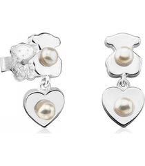 aretes super power de plata con perlas