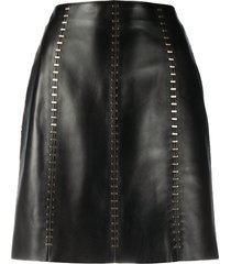 alexander mcqueen stapled leather mini skirt - black