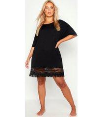 plus gehaakte strand jurk met kwastjes, black