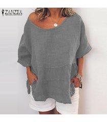 zanzea para mujer casual suelta de manga corta del cuello de o tops camisas túnica de la blusa pullover -gris claro
