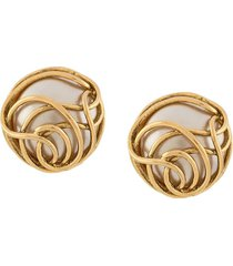 chanel pre-owned 1986-1992 curvy clip-on earrings - gold