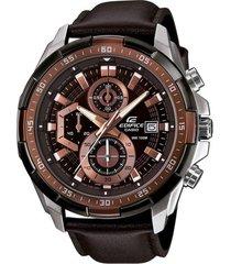 reloj casio efr_539l_5a marrón cuero