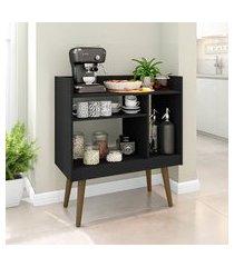 aparador café móveis bechara 1 prateleira 3 nichos preto fosco