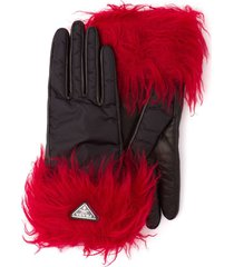 prada mohair trim two-tone gloves - black
