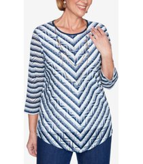 alfred dunner three quarter sleeve chevron striped knit top with detachable necklace