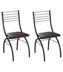 conjunto com 2 cadeiras devon tabaco e preto