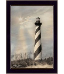 "trendy decor 4u cape hatteras lighthouse by lori deiter, printed wall art, ready to hang, black frame, 14"" x 20"""