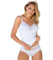 bh-linne med spets i dekolletaget speidel vit