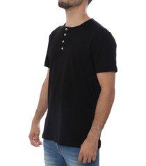 camiseta negro frank pierce 4 botones x2003